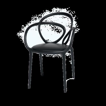 qeeboo sedia nera con cuscino schienale attorcigliato