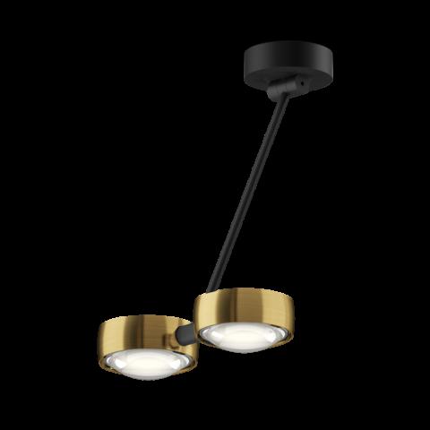 lampada da soffitto con asta regolabile nera e doppia testa dorata colore bronzo
