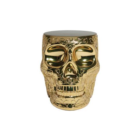 tavolino teschio messicano oro
